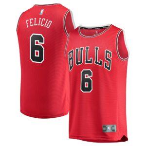 Men's Fanatics Branded Cristiano Felicio Red Chicago Bulls Fast Break Road Replica Player Jersey - Icon Edition