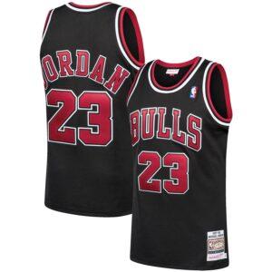 Men's Mitchell & Ness Michael Jordan Black Chicago Bulls 1997-98 Hardwood Classics Authentic Player Jersey