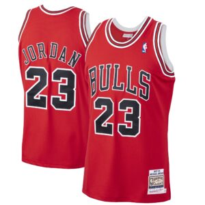 Men's Mitchell & Ness Michael Jordan Red Chicago Bulls 1997-98 Hardwood Classics Authentic Player Jersey