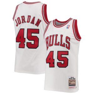 Men's Mitchell & Ness Michael Jordan White Chicago Bulls 1994-95 Hardwood Classics Authentic Player Jersey