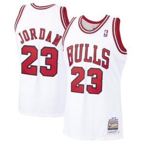 Men's Mitchell & Ness Michael Jordan White Chicago Bulls 1997-98 Hardwood Classics Authentic Player Jersey