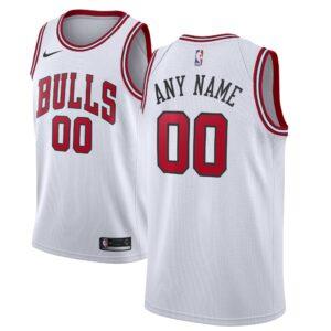 Men's Nike White Chicago Bulls Custom Swingman Jersey - Association Edition