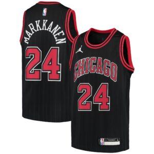 Youth Jordan Brand Lauri Markkanen Black Chicago Bulls 2020/21 Swingman Player Jersey - Statement Edition