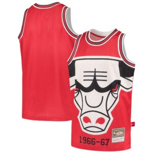 Youth Mitchell & Ness Red Chicago Bulls Hardwood Classics Big Face 2.0 Jersey
